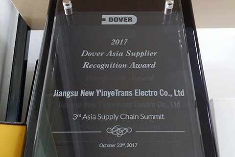 "NYY was awarded ""Dover Asia Supplier Recognition Award"""